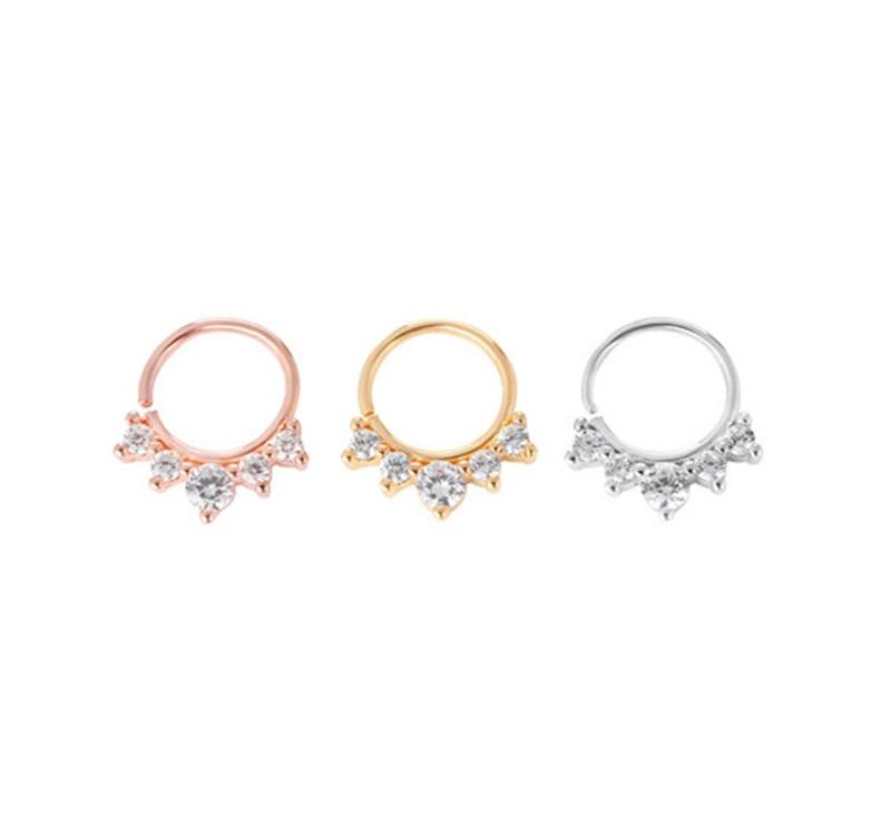 2020 Crown Nose Stud Women Ear Ring Zircon Phul Gold Plated Silver