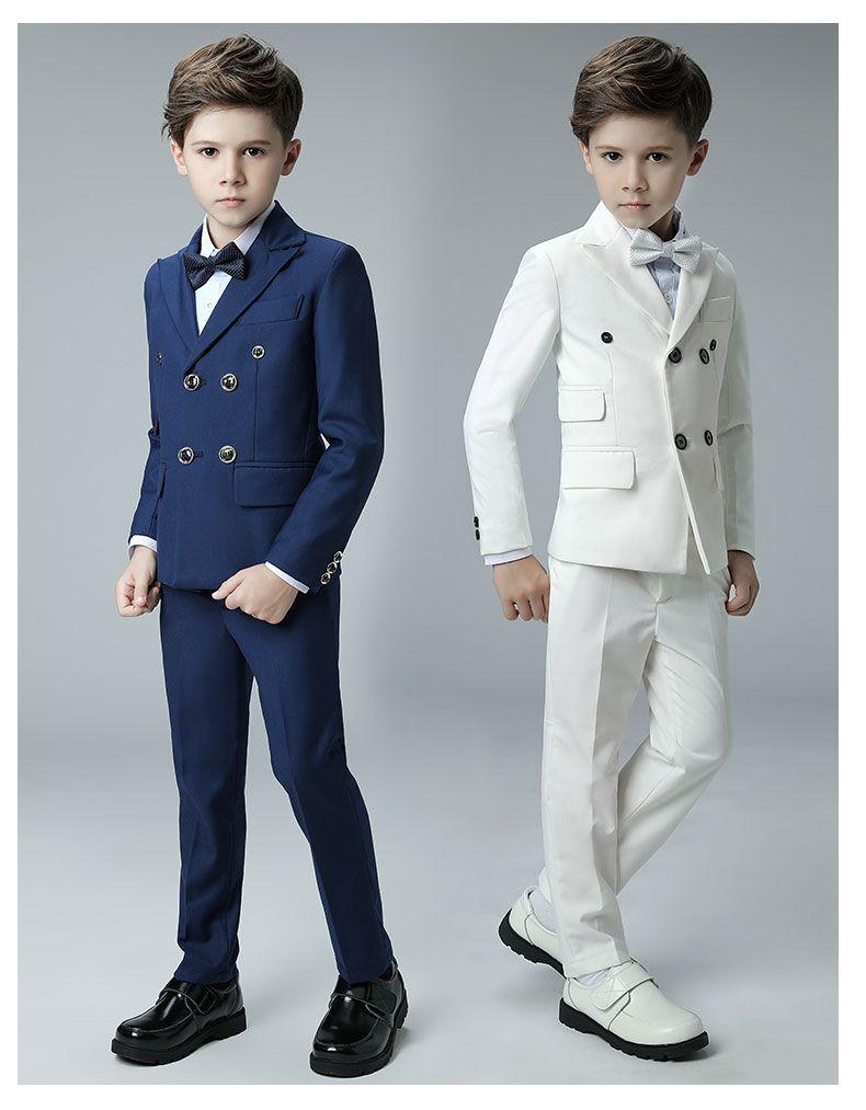 Königsblau Langarm Jungen Prom Smoking Anzüge Zweireiher Männliche Kinder Formale Brautkleider Nach Maß (jacke + pants + fliege)