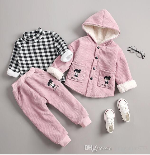 2019 New Best-selling winter baby cotton-padded corduroy cute girl with cap and long sleeve two children's suit manufacturers direct sales