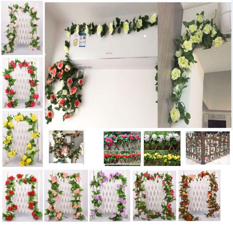 3 tailles de fleurs artificielles vigne Faux soie Rose Ivy fleur pour la décoration de mariage Vines artificiels Hanging Garland Home Decor HH9-2566