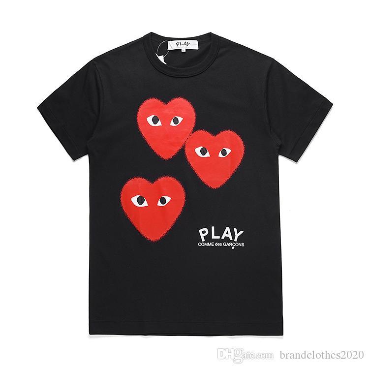 Üst Kalite Yaz Moda Tasarımcısı C-D-G oyun Tişörtler # 006 Lüks Comme des Garçons Erkek Kadın Casual Pamuk Baskı Kalp Tees Maske kırmızı