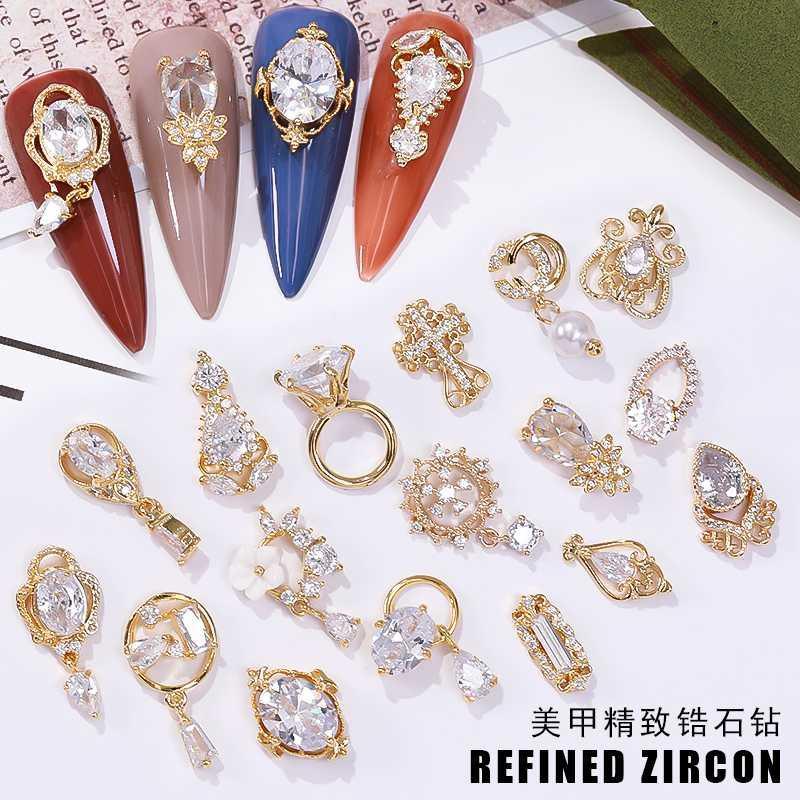 أحدث محفظة 5pcs مسمار شرابة الفن الزركون مسمار المجوهرات المعدنية ظفر الديكور سحر الزركون قلادة الماس مانيكير