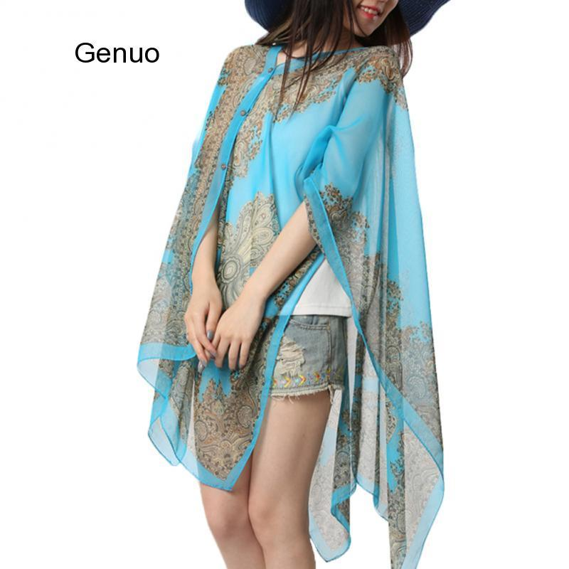 Woman Long Sleeve Thin 10-color Fabala Plus Size Blouses Shawl Scarf Cover Ups Flower Loose Chiffon Sun Protection Shawl