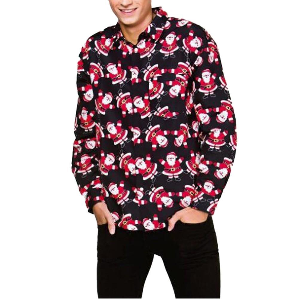 Feitong 3D Christmas Shirt Men Santa Print Men's Blouse Casual Autumn Winter Long Sleeve Slim Shirt Top Blusas Male
