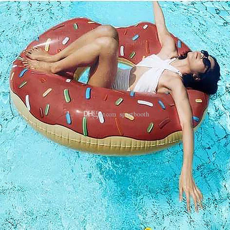 Atacado Forma Verão Novo 120 centímetros Donut inflável Explosão de Natação Anéis espessamento Oversized alta qualidade mulheres de natação Anéis