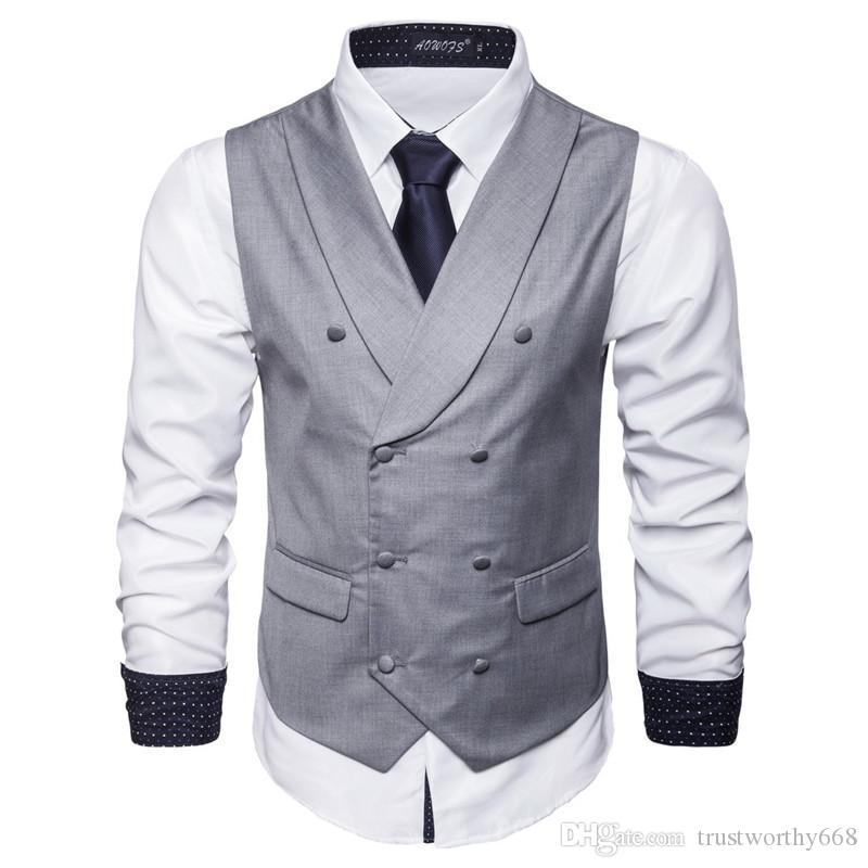 저렴하고 좋은 더블 브레스트 조끼 남자를위한 영국 스타일 남자의 결혼식 / 댄스 / 저녁 식사에 적합 최고의 남성 조끼 A33