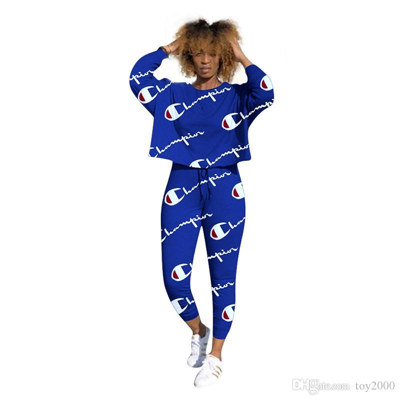 6b26a0dde10 ... Brand Designer women sweatsuit joggers two pieces Champions outfits  sweatshirt leggings winter clothes sportswear pants tracksuit ...