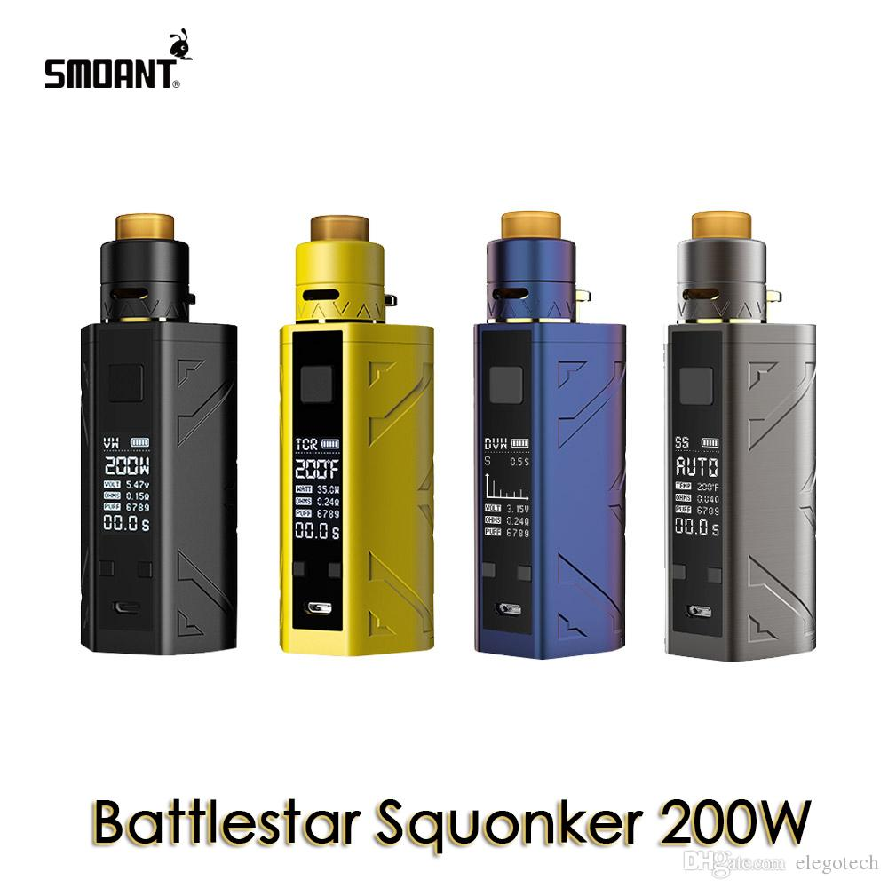 Smoant Battlestar Squonker 200W TC Kit 7 мл емкость Battlestar Squonker Mod и RDA работает на двойной 18650 100% аутентичный