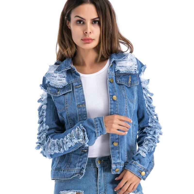 5XL más el tamaño de la chaqueta de dril de algodón rasgado ropa de las mujeres 2018 señoras del otoño de manga larga para mujer Outwear jaqueta Jeans Femenina Veste Femme