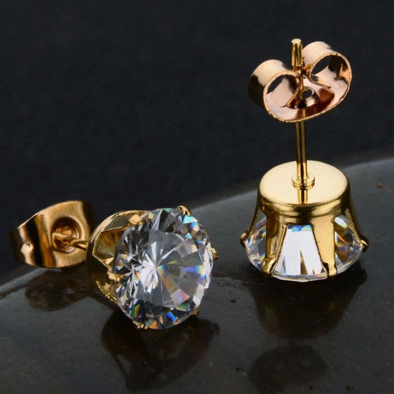 Stainless Steel Six-claws Shiny Cubic Zircon Stone Woman Stud Earrings Wedding Engagement Gifts Fashion Jewelry Round Cut Exquisite Ear Stud
