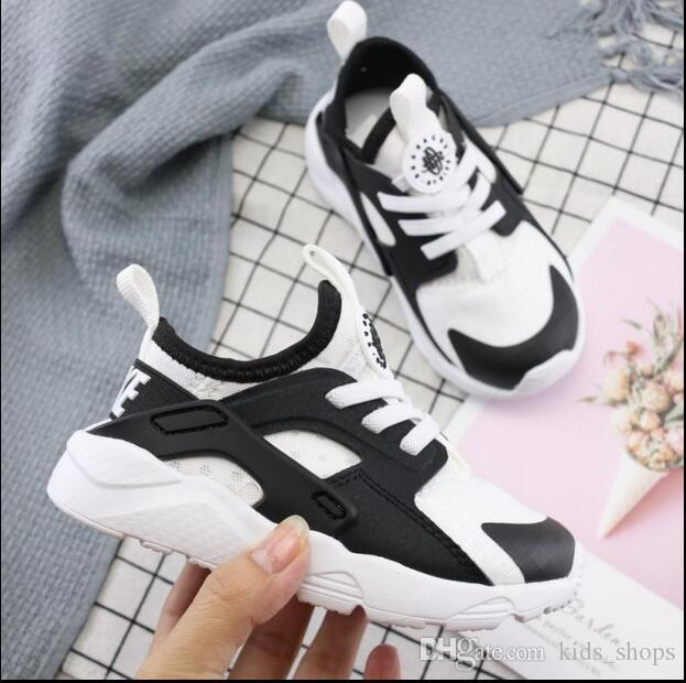 hot sale Kids Air Huarache Sneakers Shoes For Boys Grils Authentic All White Children's Trainers Huaraches Sport Running Shoes Size 22-35