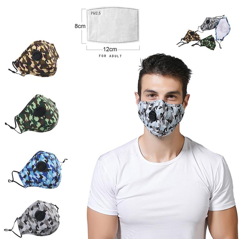 Tarnung Designer-Gesichtsmaske Anti-Staub Earloop mit Atemventil Einstellbare Wiederverwendbare Mundmasken Antistaub-Schutzmasken