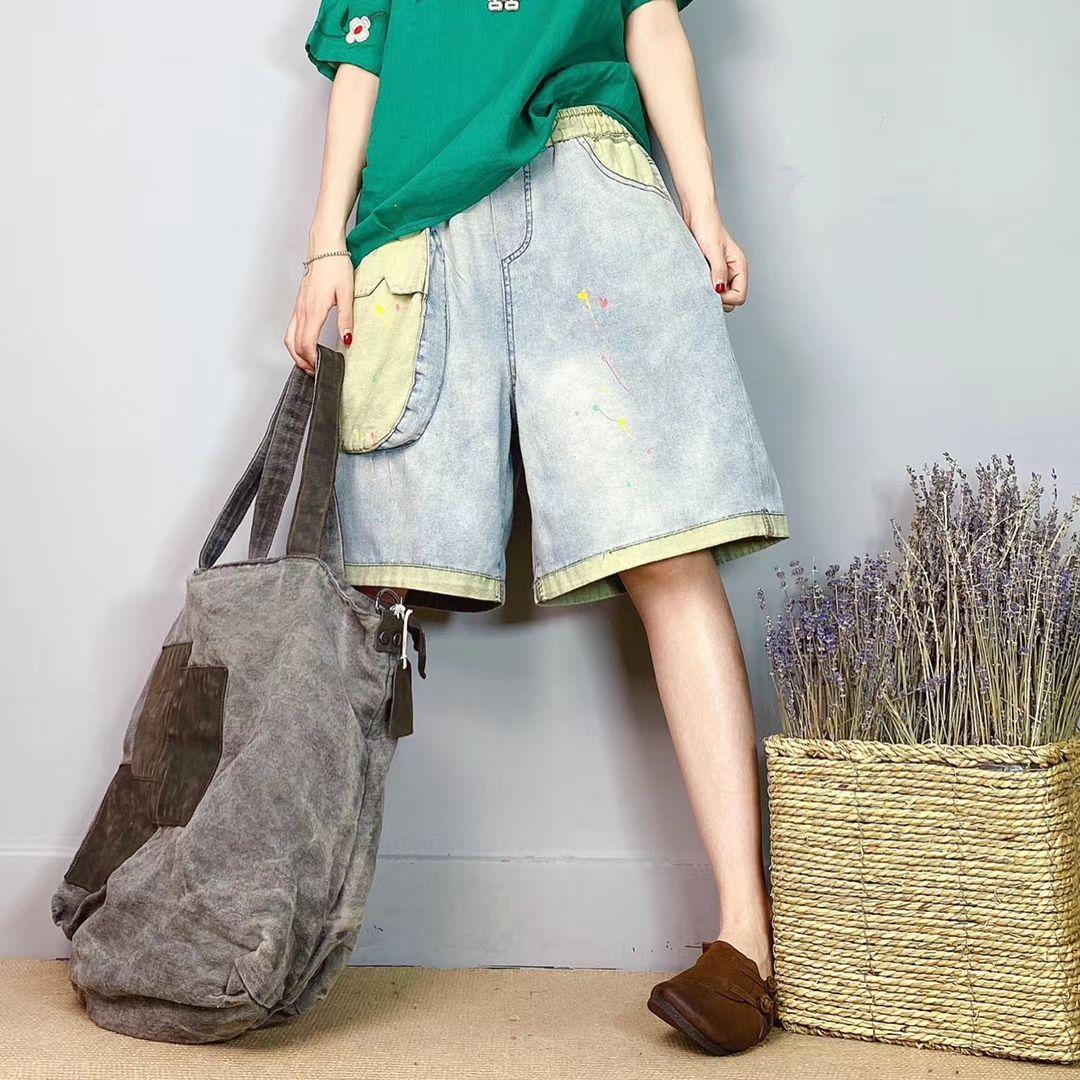 Sarı Tek Çubuk İnce Kumaş Renk Eşleştirme Büyük Yards Kişilik Gevşek Kadın Sıcak Pantolon Bk4801