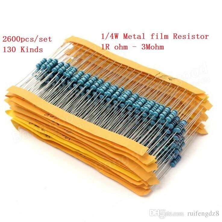 2600 pçs / set 130 Tipos 1/4 W 0.25 W Resistência 1% Kit Resistor de Filme De Metal Kit Sortido 1 K 10 K 100 K 220 ohm 1 M Resistores 2600 pçs / set