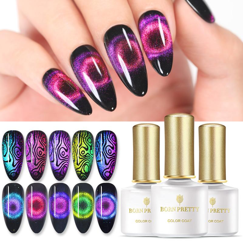 BORN PRETTY 9D Katzenauge magnetischer Nagel Gel 6 ml Black Hole Effect Gel-Nagellack magische Chamäleon-Art Semi Permanent UV