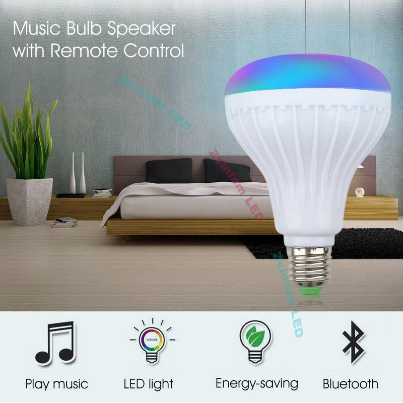 الذكية LED ضوء RGB بلوتوث اللاسلكية سماعات لمبة مصباح موسيقى اللعب عكس الضوء 12W مشغل موسيقى الصوت مع 24 مفاتيح التحكم عن بعد