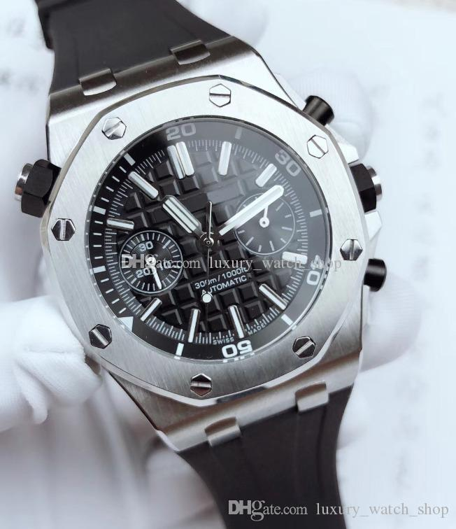 고품질 남성 새로운 시계 26703ST 15710ST 사파이어 유리 (3120) 운동 자동 기계 시계 원래 고무 손목 시계 방수