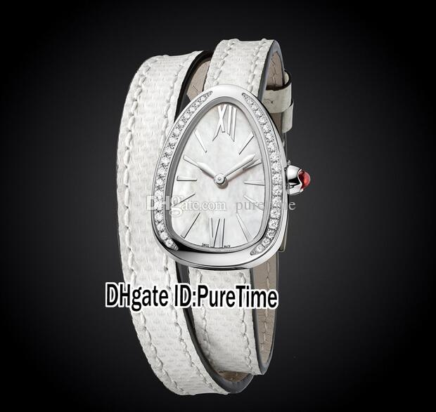 New Fashion Jewellery Watches 102781 SPS27WSDL Steel Case Diamond Bezel White Dial Swiss Quartz Womens Ladies Watch White Leather 40ab2