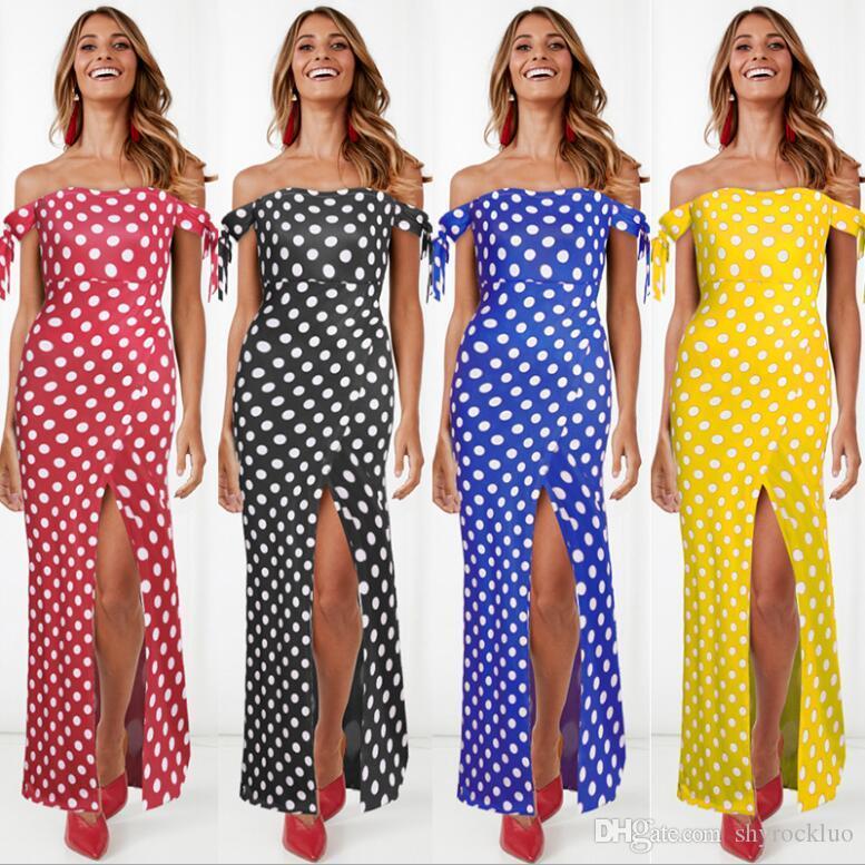 2019 New Womens Summer Polka Dot 암 끈 긴 Dress 숙 녀 One- 숄더 Beach Party Dot Sundress Femmel women Sexy 슬래시 목 dress