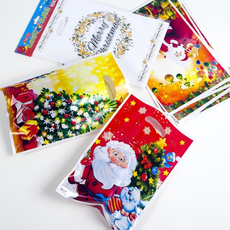 Sac fourre-tout à usage unique PVC Noël sac cadeau de bonbons de Noël pour biscuits au chocolat