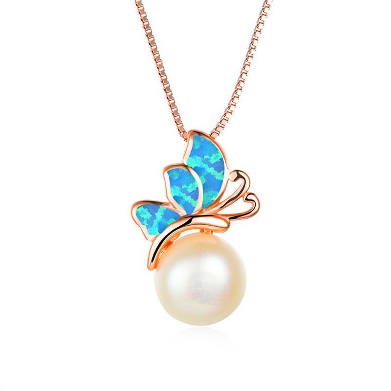 Femme Bleu Opale Blanc Pendentif breloque papillon perle or rose colliers pour les femmes Dainty Collier de mariage des animaux