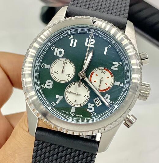 1884 남성 쿼츠 시계 시계 크로노 그래프 억만 장자 8 커티스 손목 시계 육군 녹색 시계와 고무 밴드 다이얼