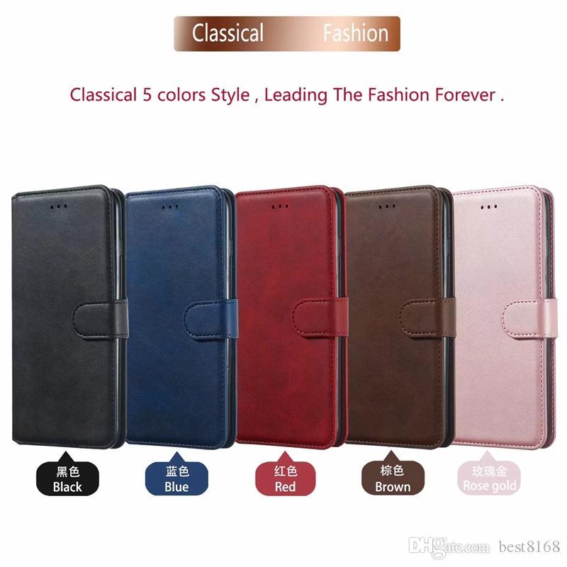 Carteira de couro clássica capa para Samsung Nota 10 Pro S10 S10e A70 A60 A50 A30 A40 Slot para cartão Titular ID Suporte Suporte de Rose tampa de ouro luxuoso