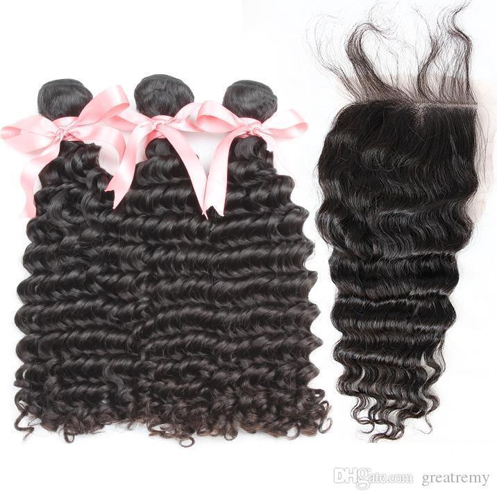 Greatremy? 8A En bruto 100% de Malasia extensiones del cabello humano de la onda profunda 1pc del encierro del cordón 3pcs Con paquetes de pelo 4x4 cabeza completa