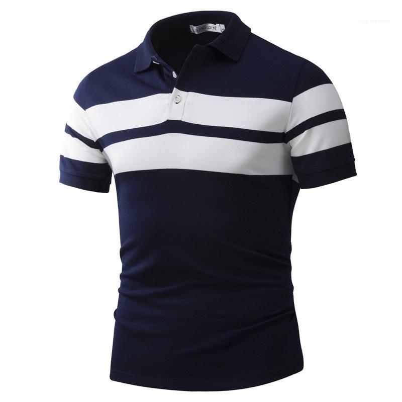 Polos delgado de la manga del Mens del verano raya para hombre prendas de vestir estampadas polos de la manera corta ocasional de lujo