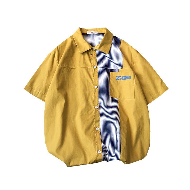 الصيف رجالية عادية قصيرة الأكمام قميص موضة نمط فضفاض الأدب والفن اللون الشباب الرجال مطابقة قميص