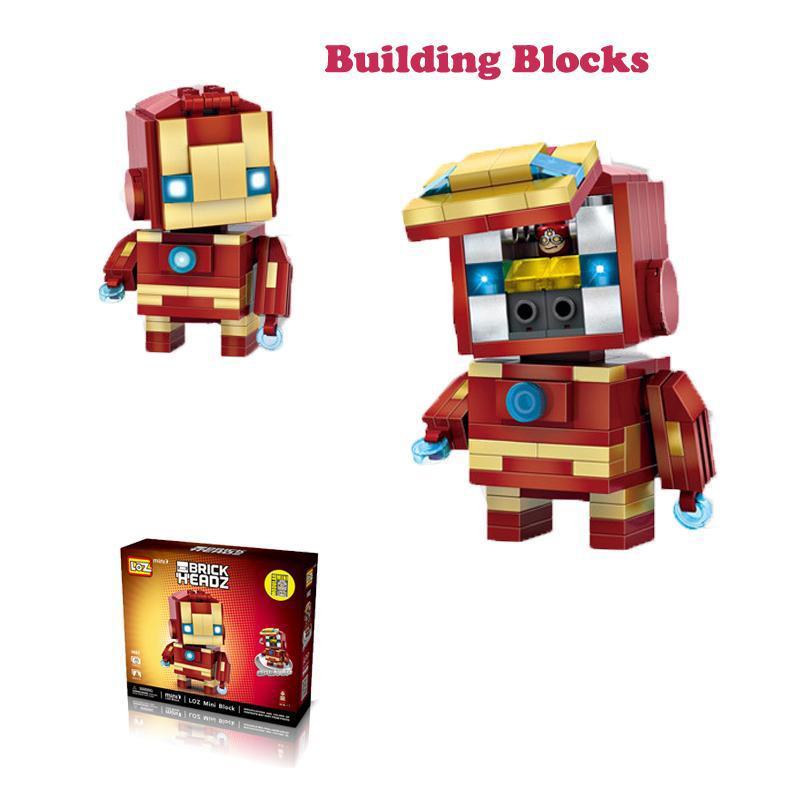 LOZ 미니 슈퍼 영웅 블록 배트맨 캡틴 미국 토르 철 벽돌 머리 액션 피규어 블록 조립 완구