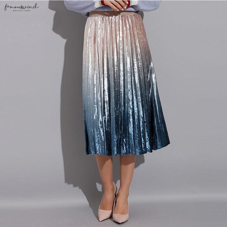 Gonna a pieghe Gonna lunga Donna Autunno elegante vita alta A-Line Pieghe scuola Midi A-Line Skirt Metallizzato Multicolor Femminile