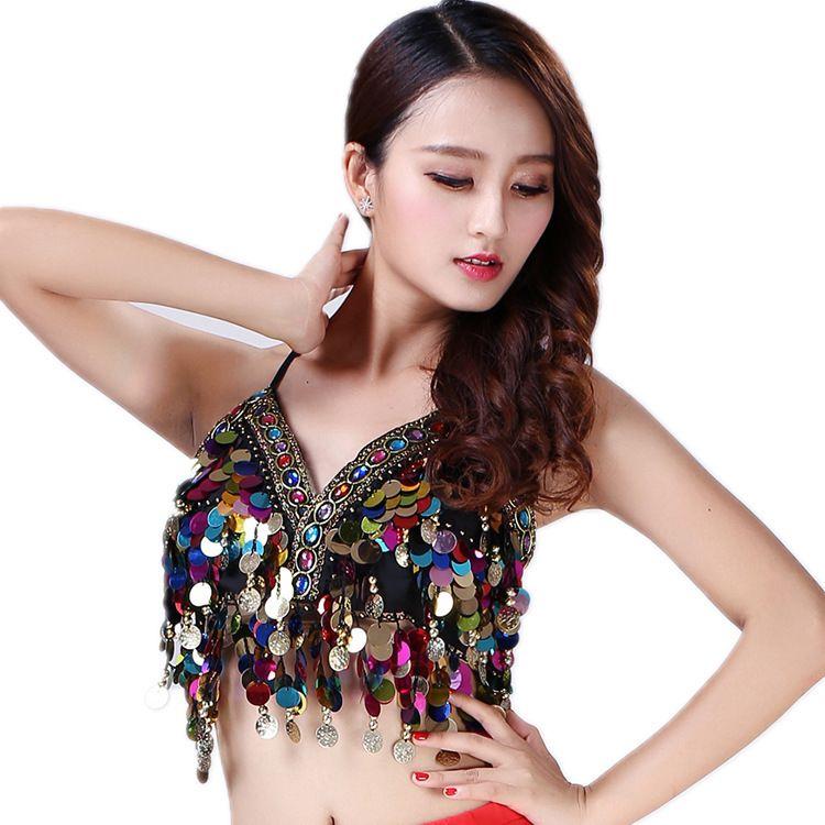 Women/'s Rainbow Sequin Tassel Mermaid Festival Body Bra Clothes Rave Crop Tops