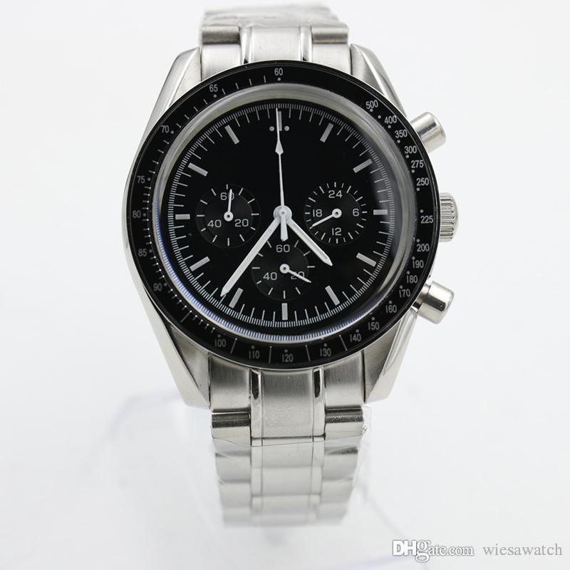 Горячие Продажи Открытый Хронограф Кварцевые Батареи Мужчины Moonsatch Профессиональные Мужские Часы Спорт Человек Наручные Часы Круглый Черный циферблат