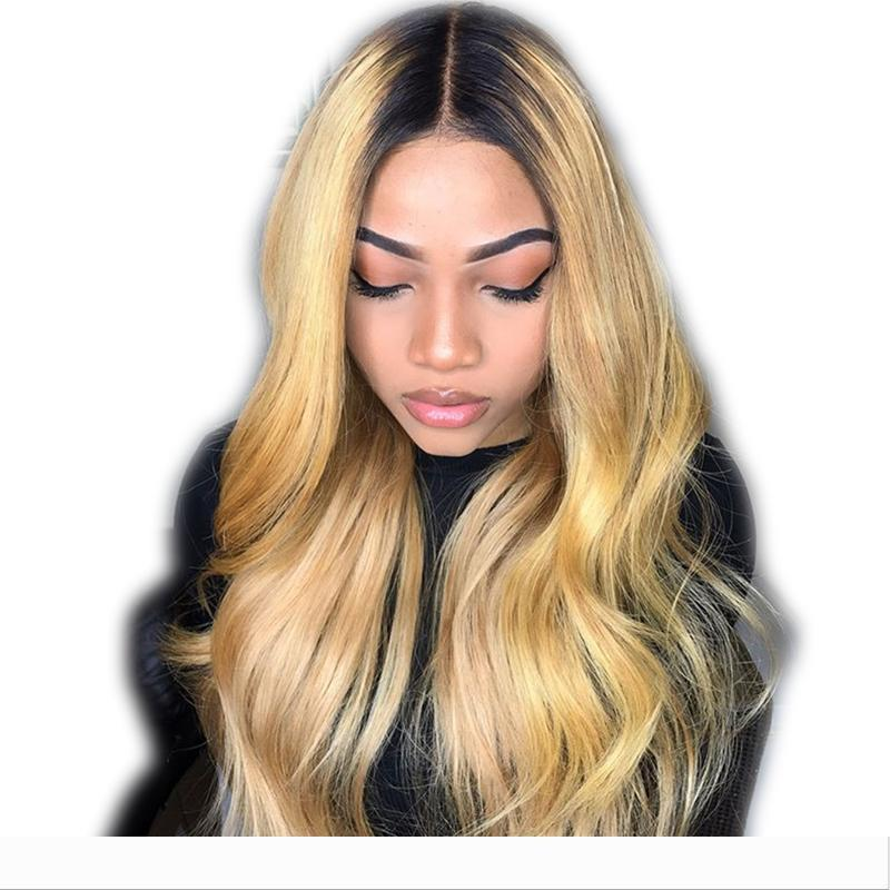 Ombre Color Human Hair Full Lace Front Wigs For Black Women Brazilian Remy Glueless Full Lace Human Hair Wigs Pre Plucked Wigs