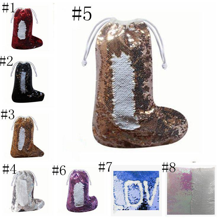 Weihnachten Sequin Socken Strumpf Nixe Paillette Geschenkbeutel Weihnachten Strumpf Anhänger Weihnachtsmann dekoriert Süßigkeiten Taschen Tunnelzug LXL299