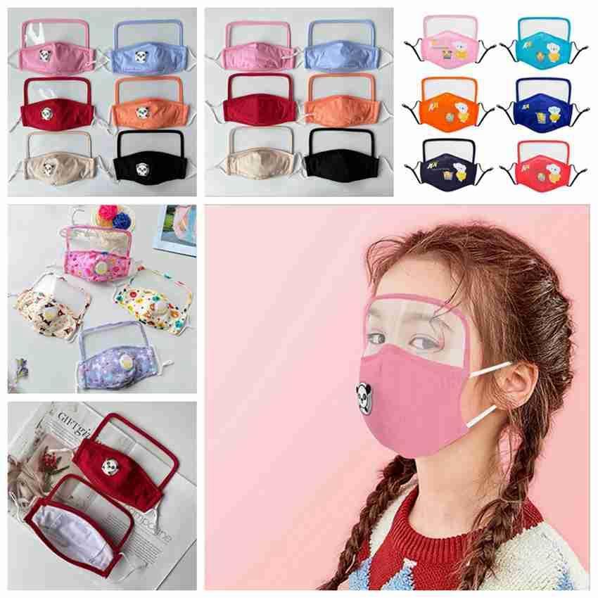 Şeffaf Göz Kalkanı Yıkanabilir Yeniden kullanılabilir Pamuk Ağız ile 22 Stiller Çocuklar Yüz Maskesi toz geçirmez Çocuk Koruma Maskesi ZZA2400 Maske