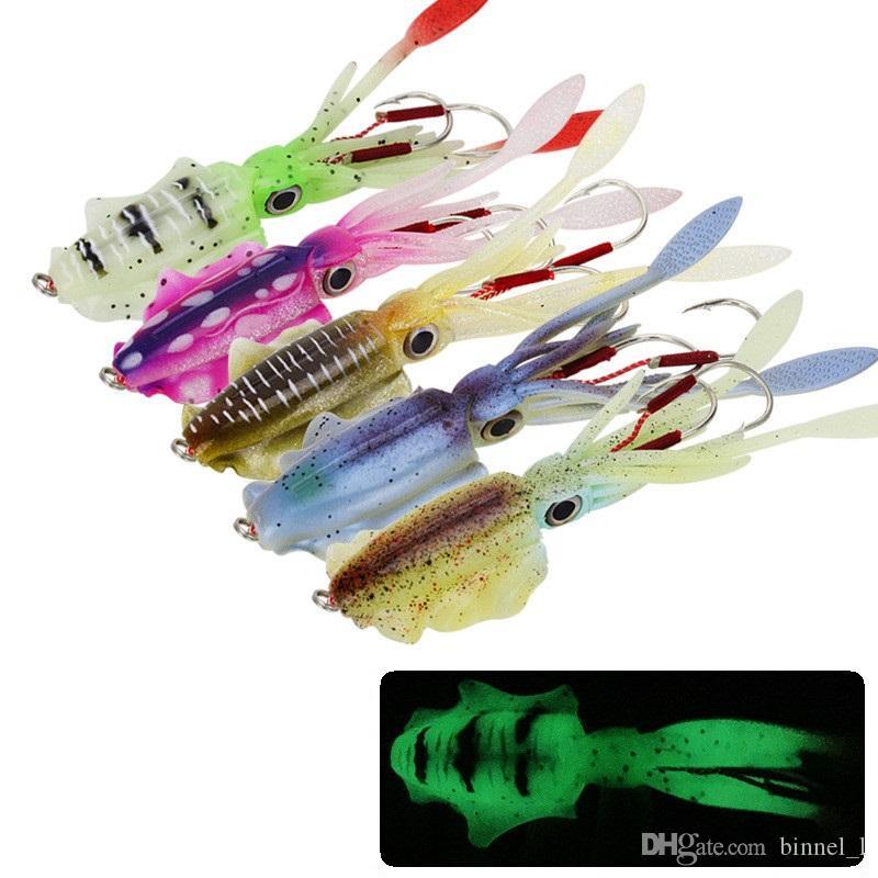 5 مختلط اللون 15cm و60g ومضيئ الحبار الرقص هوك الصيد هوكس الخطافات الطعوم لينة السحر الاصطناعي بيت PESCA معالجة صيد الاسماك اكسسوارات