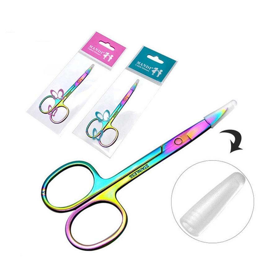 Professionelle Regenbogen Farbe Edelstahl Augenbraue Pinzette Augenbraue Mini Schere Clip Antistatische Gesicht Haarentferner Werkzeug RRA1715