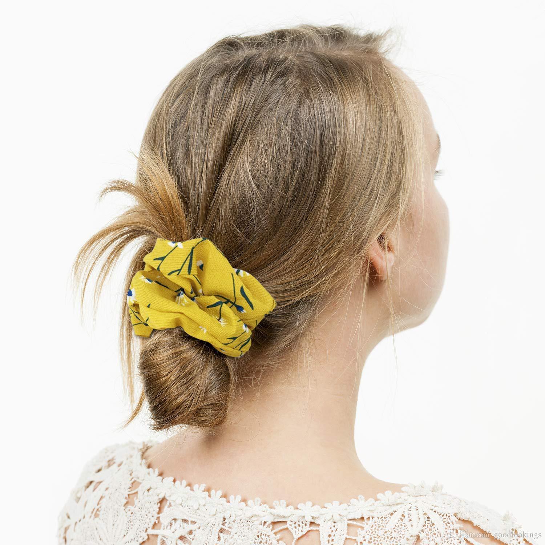 امرأة بنات الزهور Scrunchies الصلبة العصابات الشعر الدائري المطاط المرأة زينة الشعر مطاطا الشعر Hairband اكسسوارات للشعر حبل
