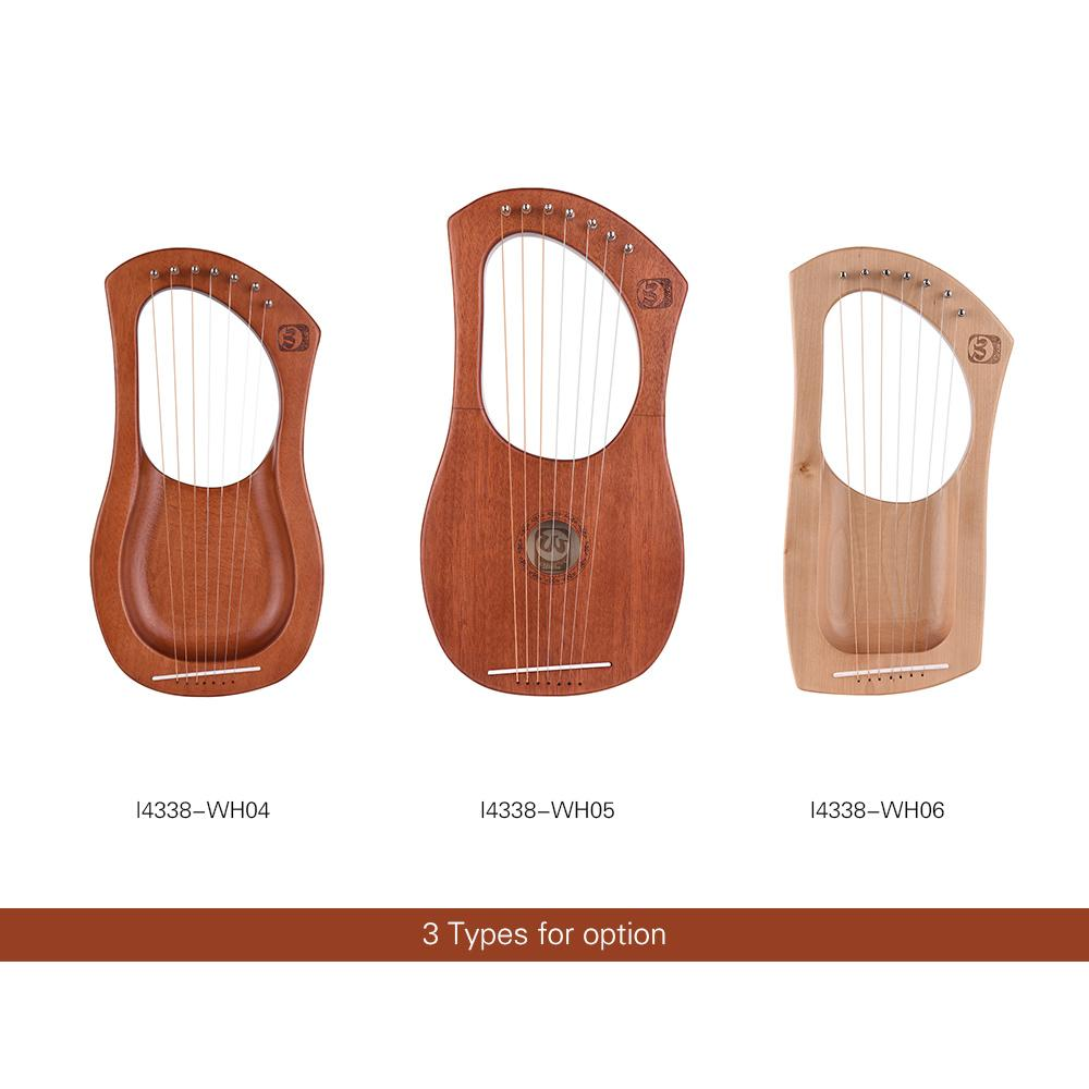 7-String Wooden Lyre Harp Metal Strings Mahogany Solid Wood String Instrument with Carry Bag