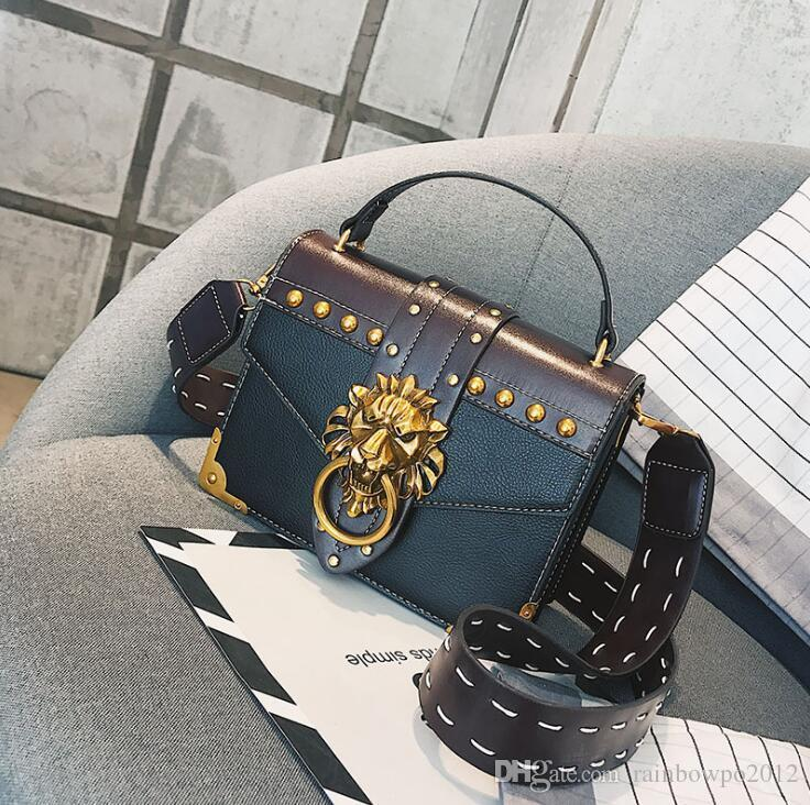 wholesale women handbag street trend rivets women shoulder bag personality leading lock punk shoulder bag flip leather rivet fashion bag