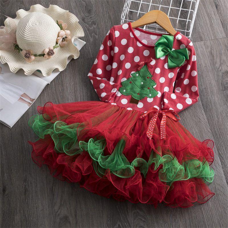 2019 new design baby girls christmas party prom skirts polka dots trees printed girl tutu dress cake layer mesh dresses for x'mas days