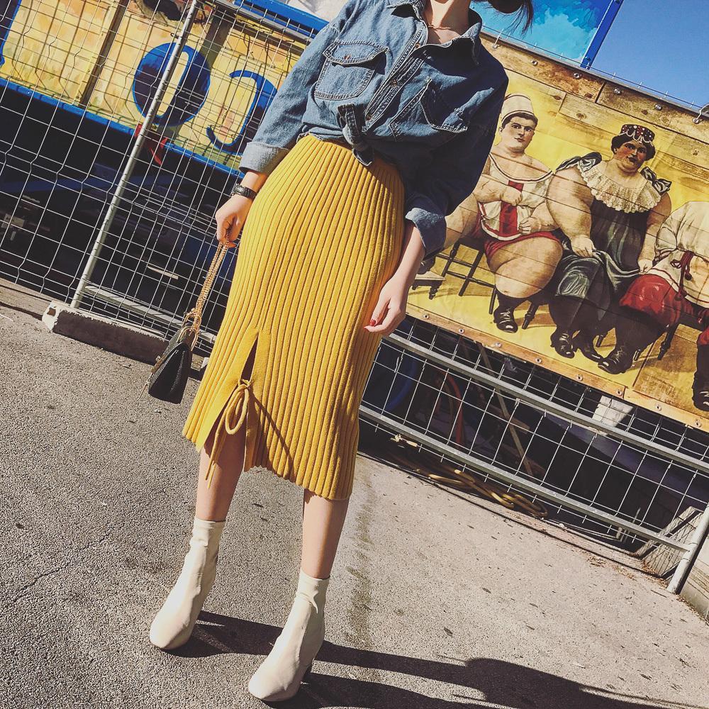 2019 femmes automne hiver nouveau côté jupe en tricot extensible élastique à la taille de la mode split step jupe paquet hanche jupe en dentelle Slim