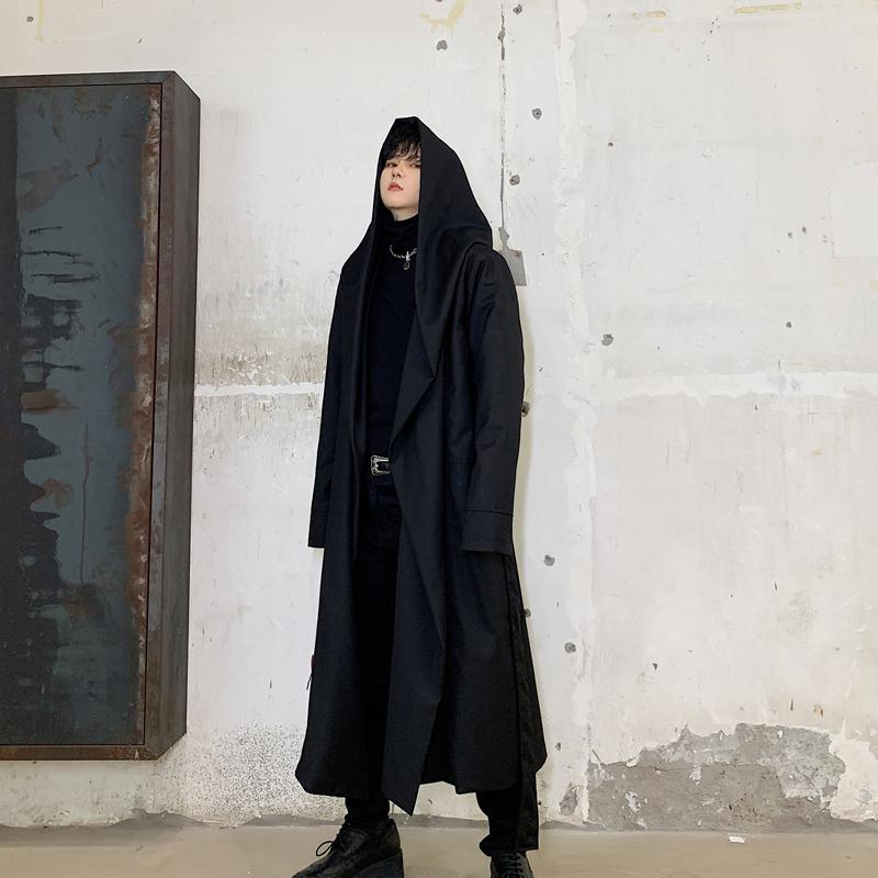 Brasão Men Japão Streetwear com capuz Trench Masculino Mulheres Punk gótico Manto Cardigan Jacket Casacos Vestuário Stage Halloween
