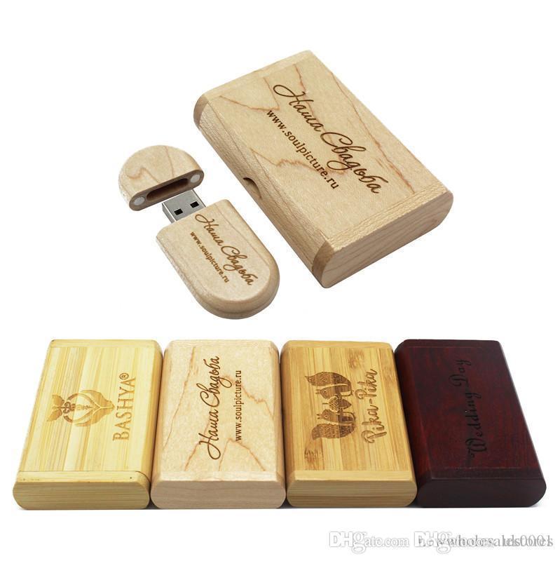 UK0001 USB flash drive 4gb 8gb 16gb 32gb pen drives Maple wood usb stick with the wood box