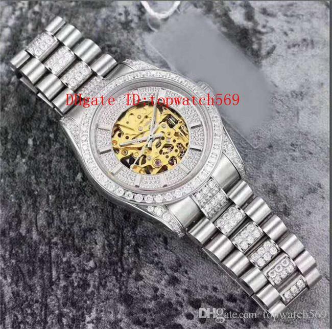 2019 Diamond Watch Luxury Watch Wristwatch Swiss Automatic Skeleton openworked Dial Sapphire Crystal 316L Stainless Steel Super Water Resist