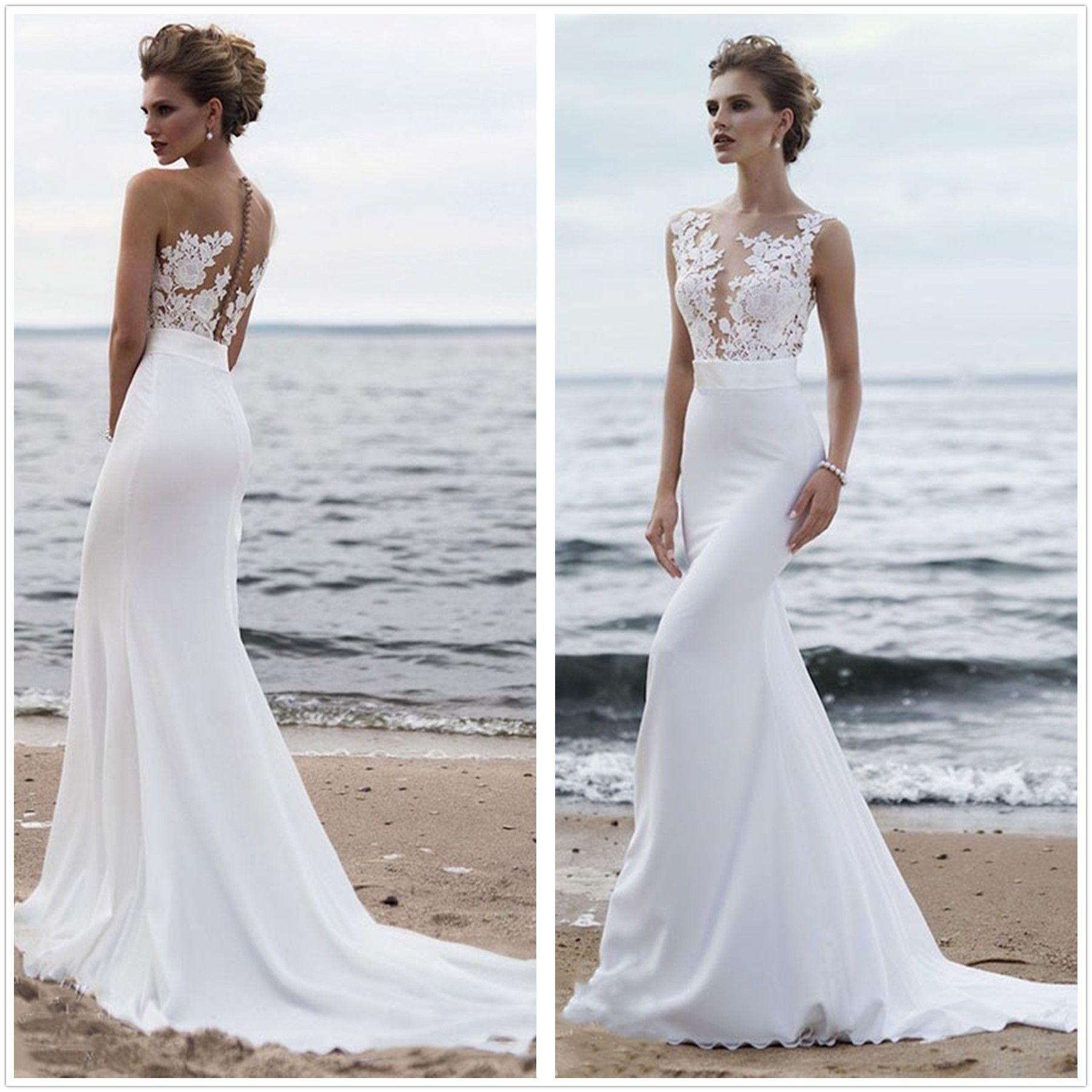 Elegant Sheer Mesh Top Lace Mermaid Wedding Dresses 2019 Chiffon Court Train Summer Beach Wedding Bridal Gowns With Buttons