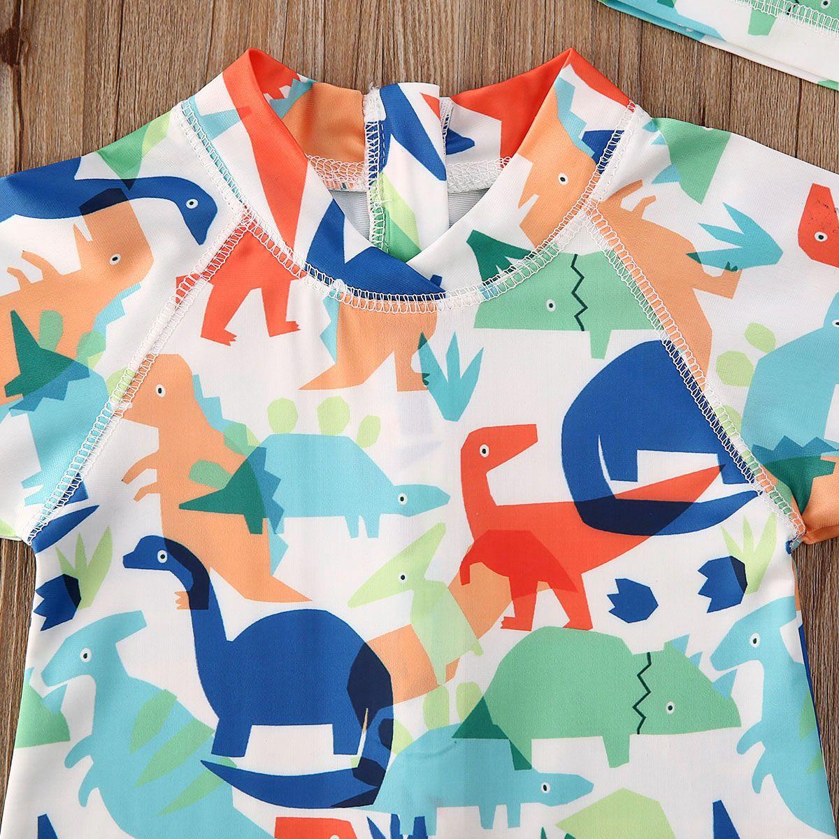 British Fashion tout-petits garçons bébé enfants Cartoon maillot de bain protection solaire UV Safe Costume Hat Piscine Mignon Tenues bébé 1-5Y