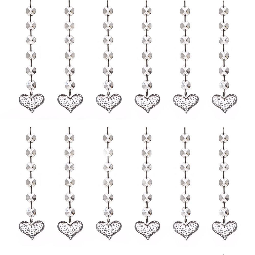 20pcs Acrílico granos del diamante de cristal colgante del partido Cortina Strand decoración para el hogar colgante ligera gota Adornos (puntos del corazón)